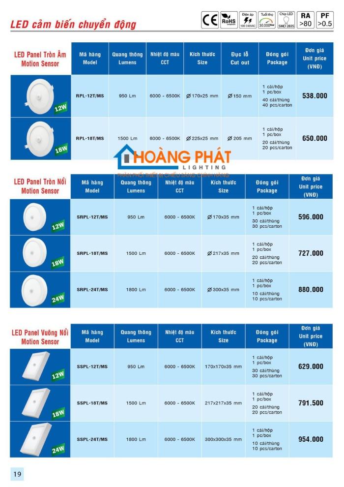 Bảng giá thiết bị điện -  đèn led MPE mới cập nhật