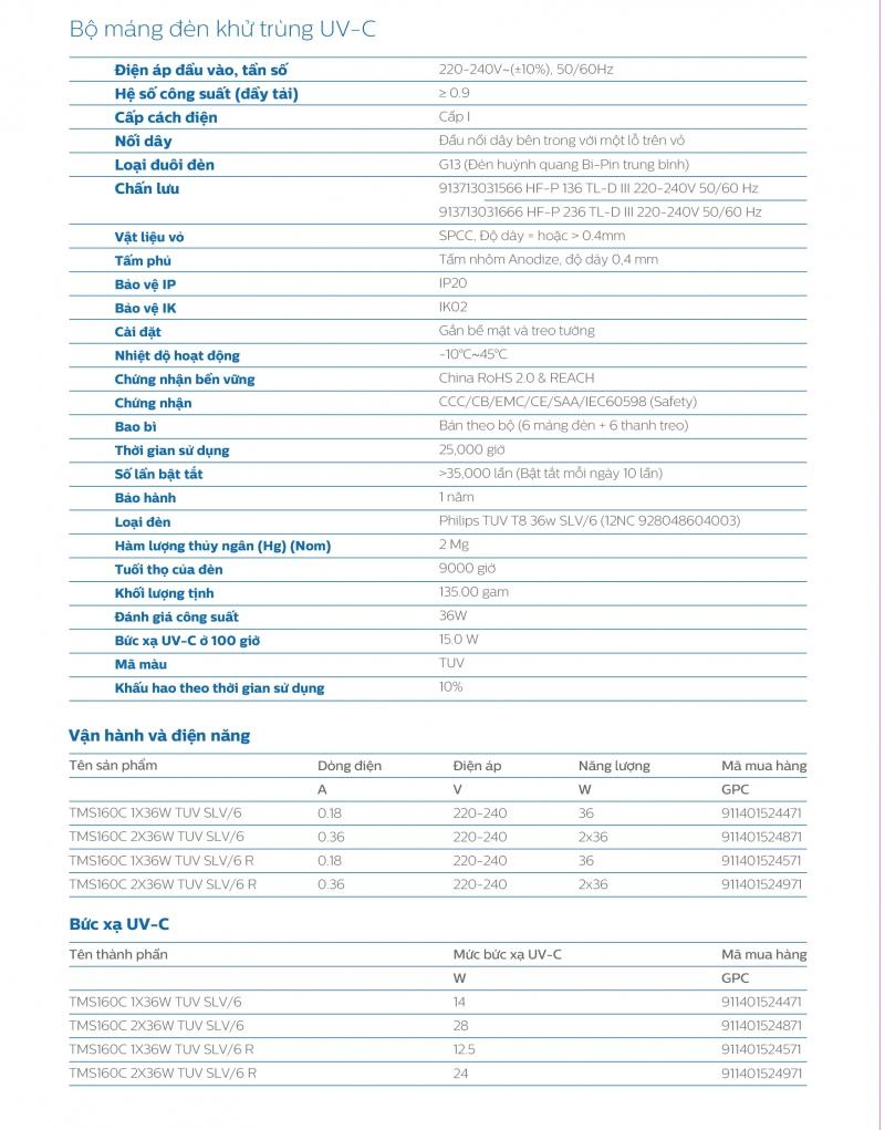 Bộ máng đèn khử trùng TMS160C 2x36W TUV SLV/6 1m2 Philips UV-C