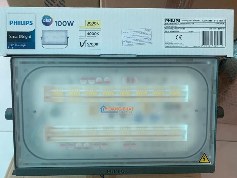 Đèn pha led 100W BVP174 LED95 WB GREY CE Philips IP65