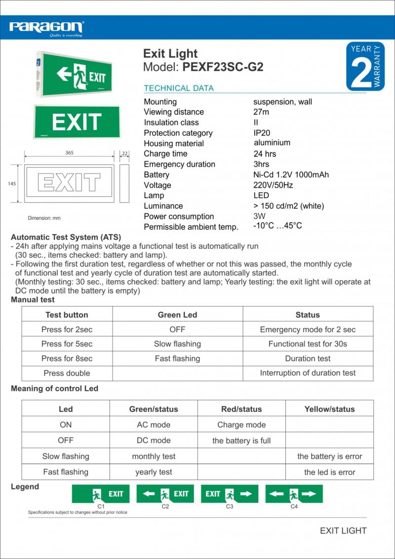Đèn exit PEXF23SC - G2 Paragon